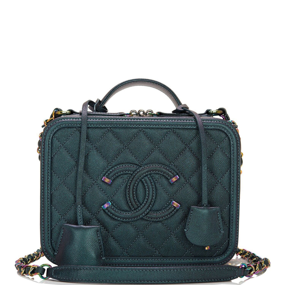 Chanel Turquoise Iridescent Rainbow Medium Filigree Vanity Case Iridescent Hardware
