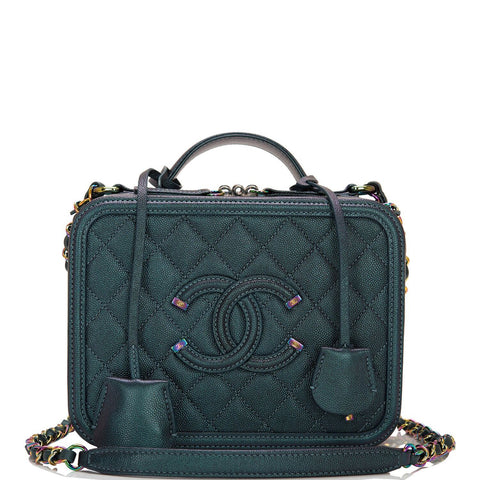 Chanel Turquoise Iridescent Rainbow Medium Filigree Vanity Case