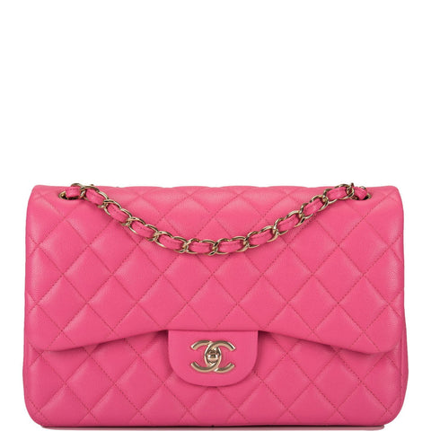 2a3e32154f8806 Chanel Pink Quilted Caviar Jumbo Classic Double Flap Bag