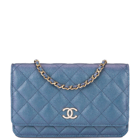 3061cea939e1 Chanel Blue Iridescent Classic Quilted Caviar Wallet On Chain (WOC)