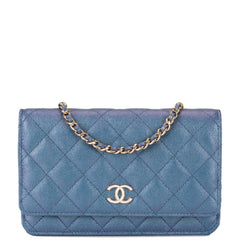 Chanel Blue Iridescent Classic Quilted Caviar Wallet On Chain (WOC)