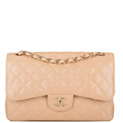 Chanel Beige Iridescent Quilted Caviar Jumbo Classic Double Flap Bag
