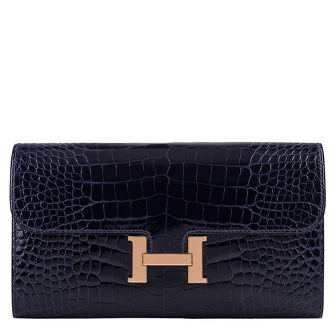 Hermes Blue Marine Alligator Constance Long Clutch Wallet Rose Gold Hardware
