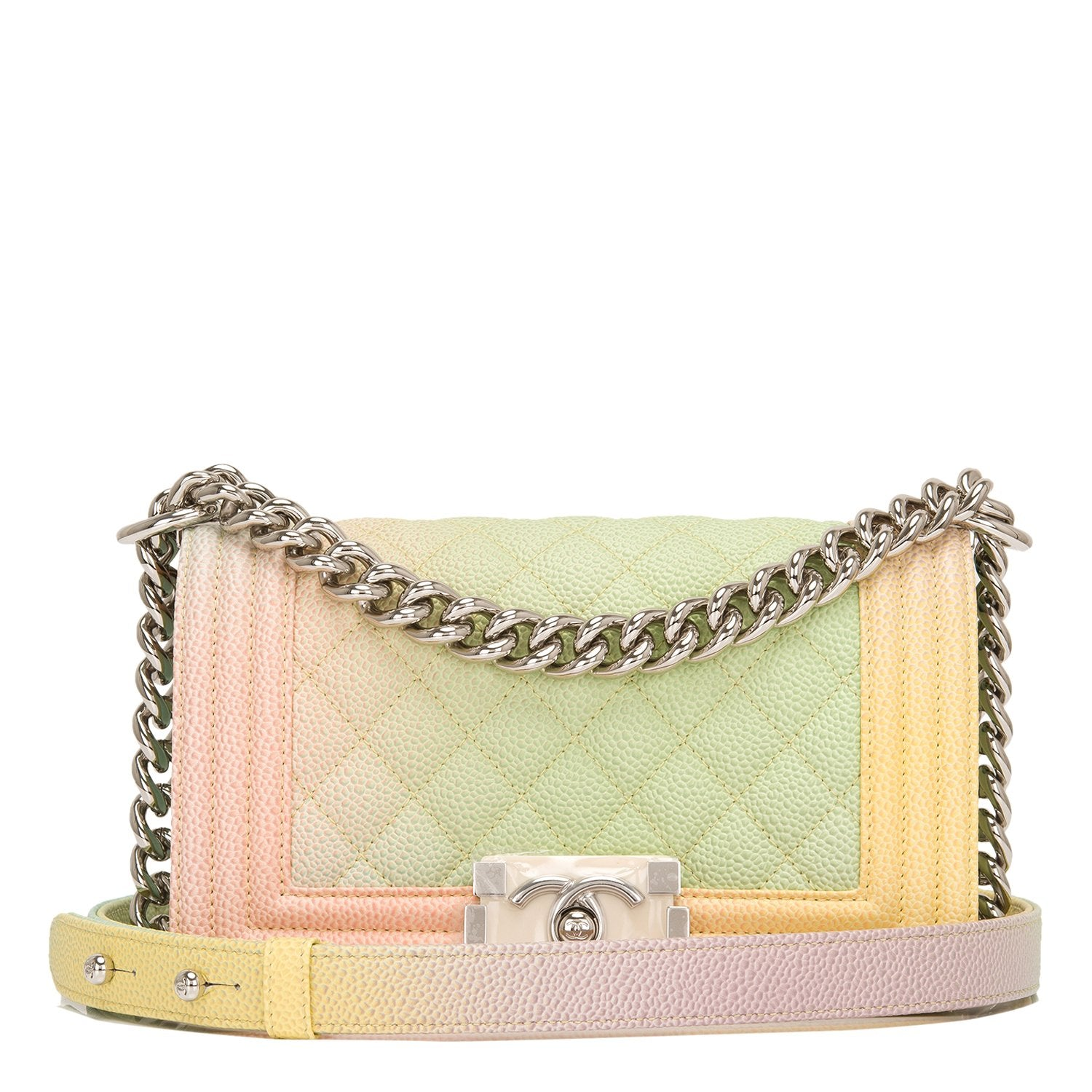 a9864c9e68a3 Chanel Ivory Rainbow Printed Caviar Small Boy Bag – Madison Avenue ...