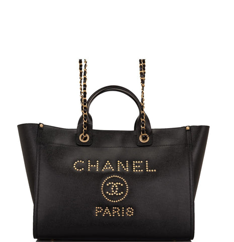 Chanel Black Leather Large Deauville Shopping Tote