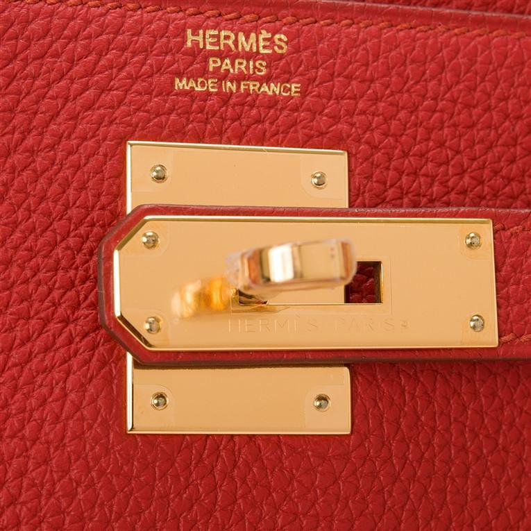Hermes Vermillion Togo Kelly 28cm Gold Hardware