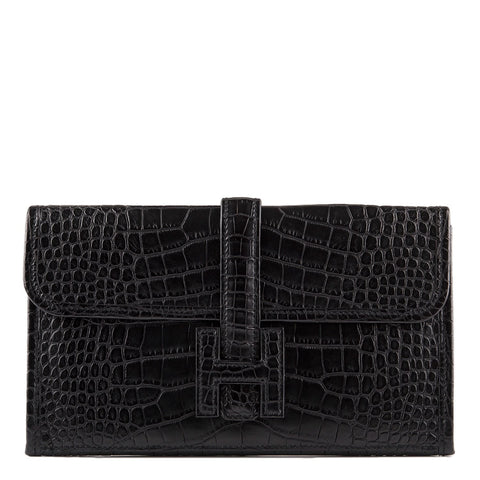 Hermes Black Matte Alligator Jige Duo