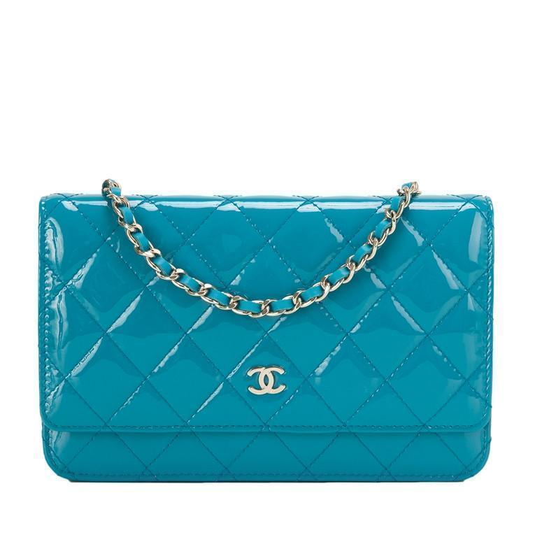 Chanel Turquoise Classic Quilted Patent Wallet On Chain (WOC)