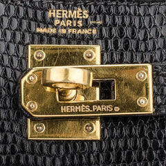 Hermes Black Lizard Kelly Sellier 20cm Gold Hardware