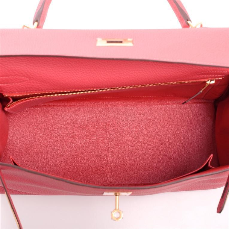 Hermes Rouge Pivoine Togo Kelly 32cm Gold Hardware