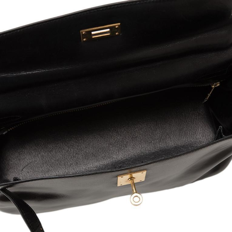 Hermes Vintage Black Box Kelly 32cm Gold Hardware