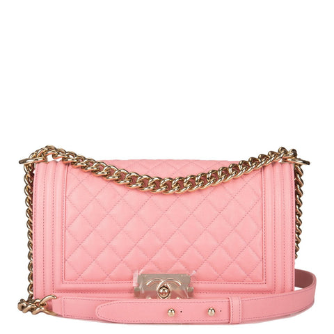 Chanel Pink Quilted Caviar Medium Boy Bag