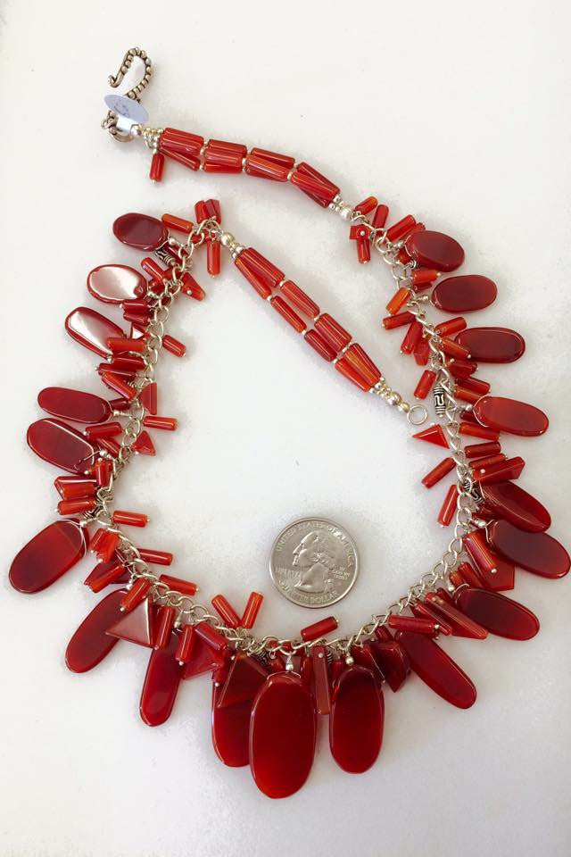 Red-Orange Carnelian Necklace  SKU 124