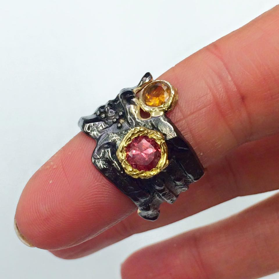 Rubellite & Citrine Ring SKU 608