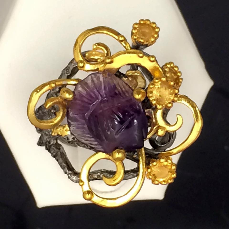 Carved Amethyst Ring SKU 573