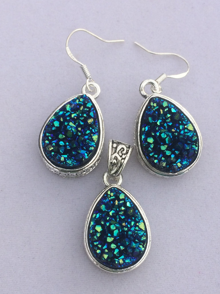 Blue-Green Druzy Set              SKU 029