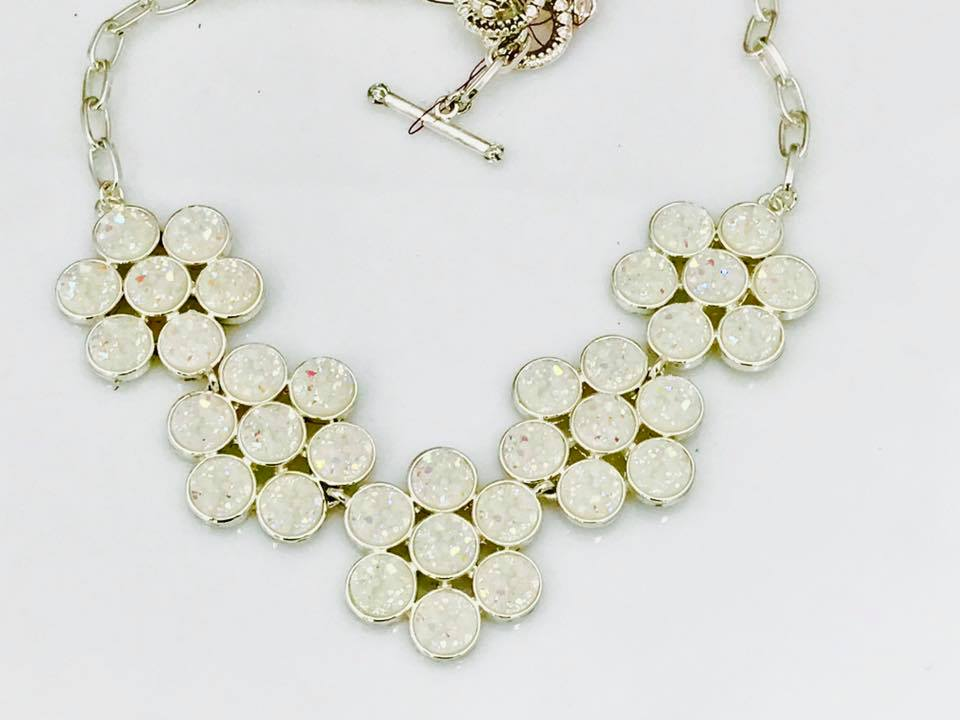 Sunlight on Snow Flower Necklace SKU 425 16""