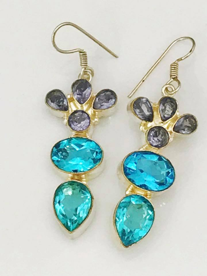 Blue Topaz and Amethyst Earrings                                   SKU 030
