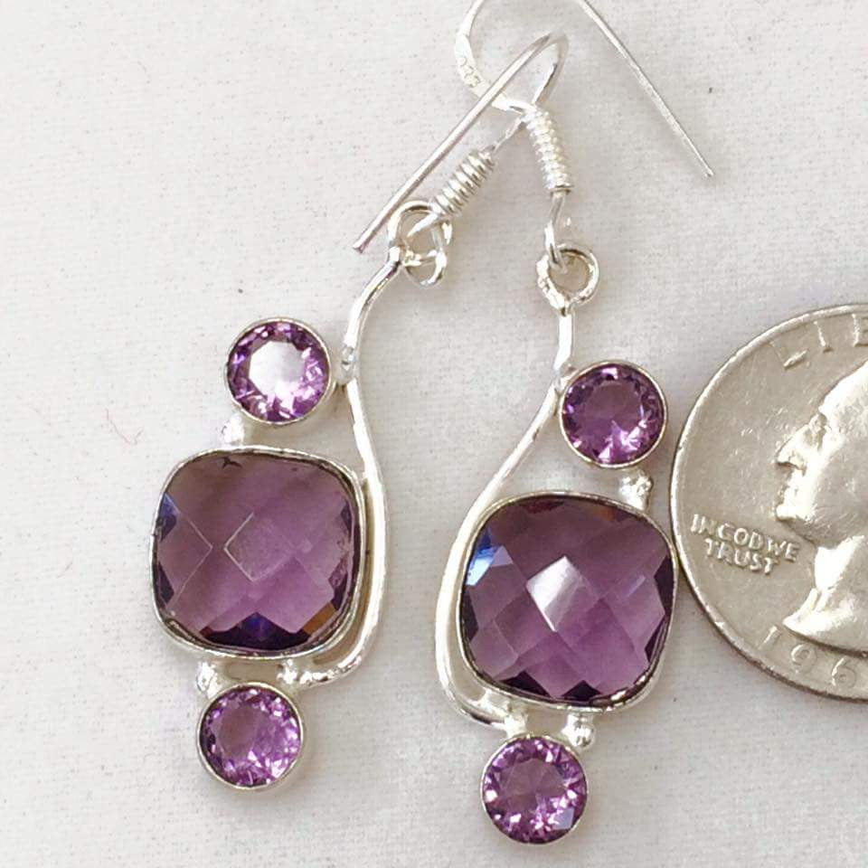 Geometric Purple Earrings  SKU 059