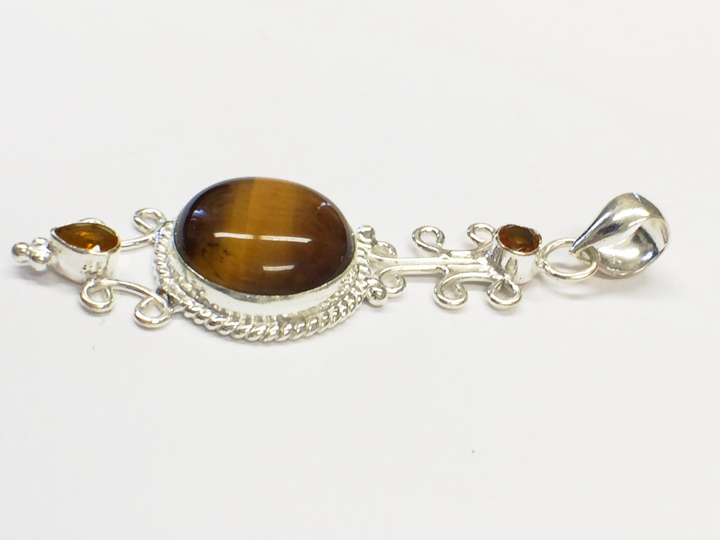 Tigers Eye and Topaz Pendant  SKU 149
