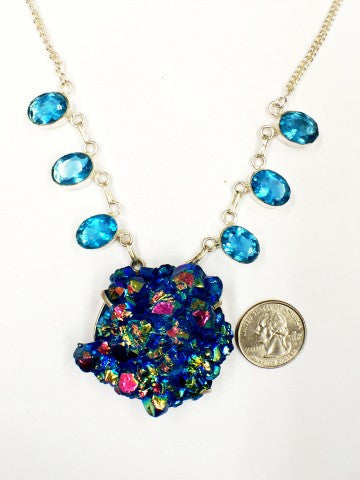 Large Druzy and topaz necklace   SKU 079
