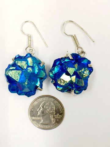 Blue titanium druzy earrings           SKU 024