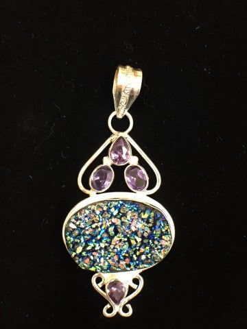 Multi Color Druzy and Amethyst Pendant  SKU 088