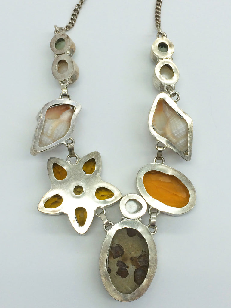 Jasper, orange topaz & multistone necklace          SKU  1001