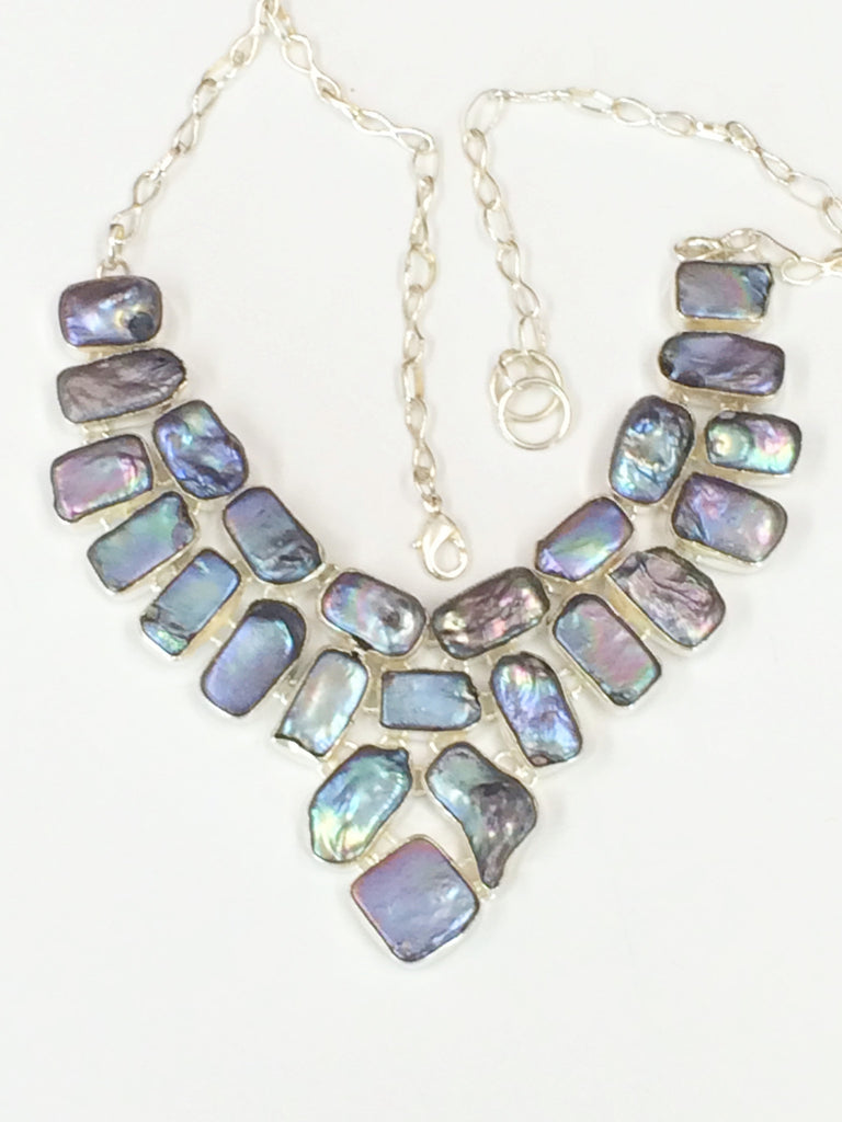 Grey Mother of Pearl Necklace                SKU 187