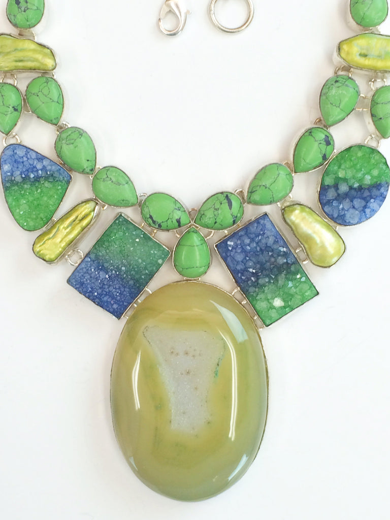 """Colorific"" Agate and Green Howlite Necklace              SKU 189"