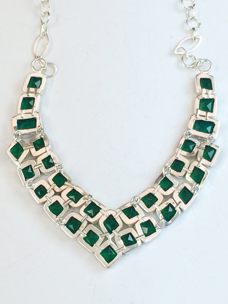 "Emerald Green ""Squares"" Necklace              SKU 204"