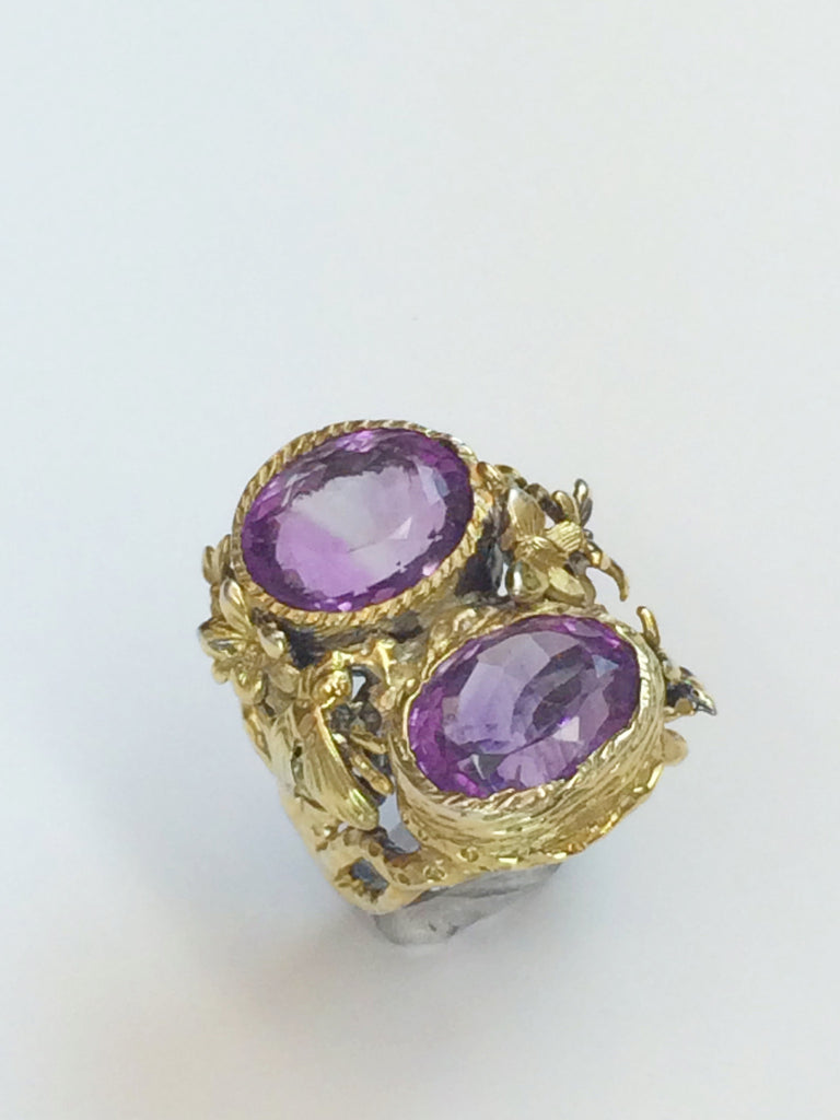 Double Amethyst Floral Ring               SKU 217