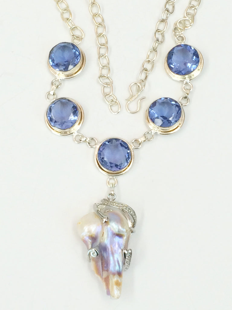 Mother of Pearl & Iolite Necklace         SKU 245