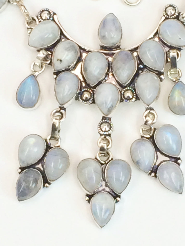 To the Moon & Back  Rainbow Moonstone necklace    SKU 251