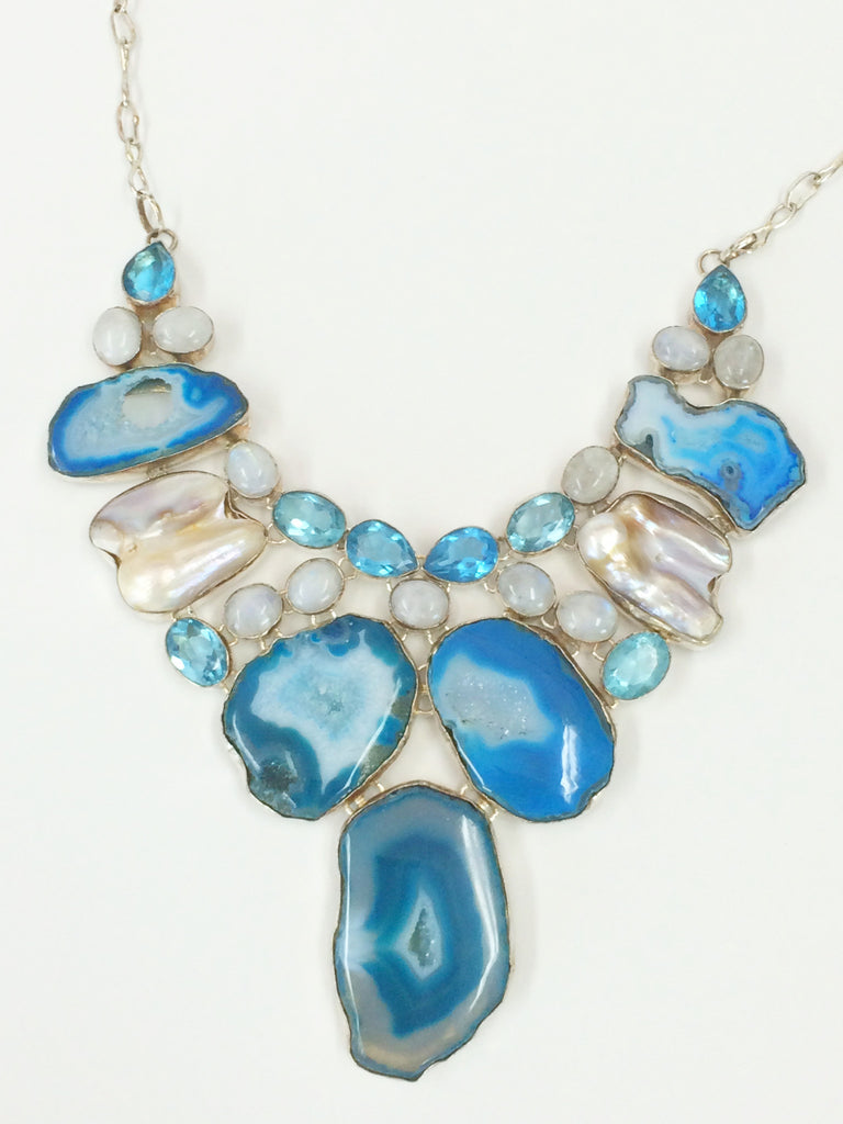 Geode Slices in Bright Blue  SKU 058