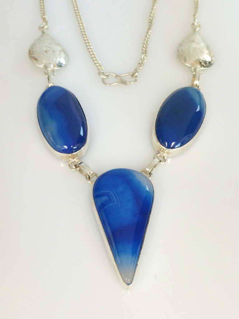 Royal Blue Agate Necklace       SKU 271