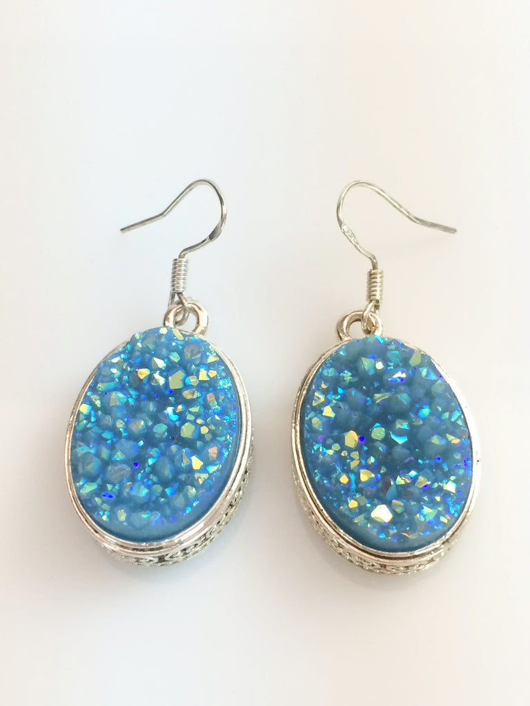Sky Blue Druzy Earrings   SKU 274