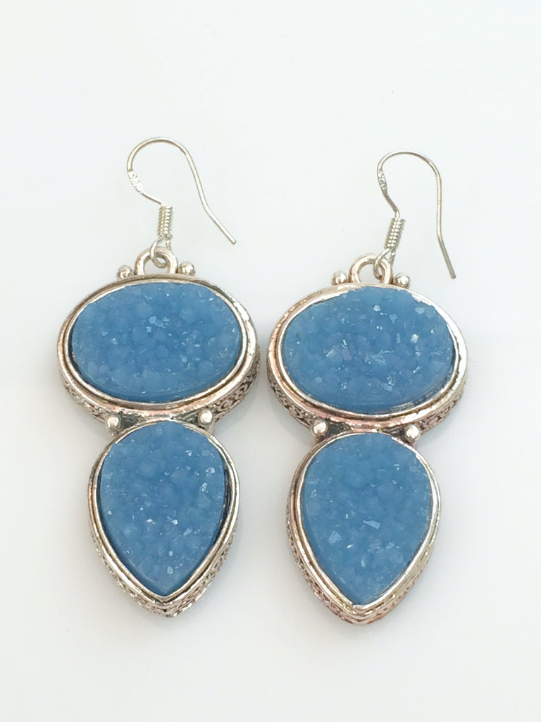 Baby Blue Druzy Earrings   SKU 284