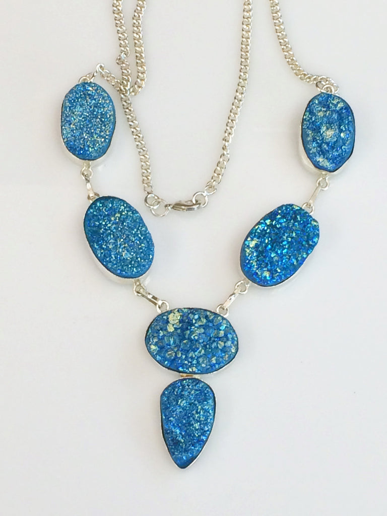 Turquoise Titanium Druzy Necklace   SKU 330