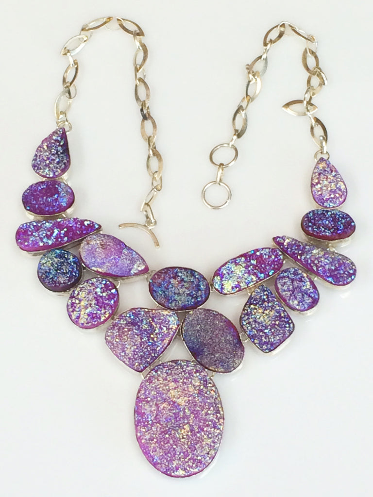 Purple & Pink Titanium Druzy necklace          SKU 320