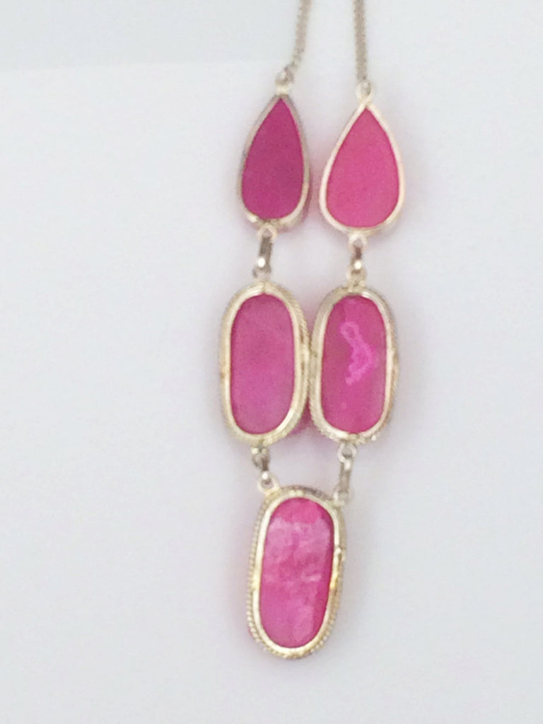 Hot Pink Druzy Necklace SKU 315