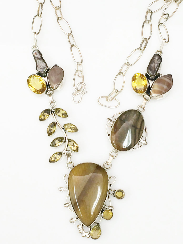 Jasper Pearl & Citrine Necklace   SKU 341