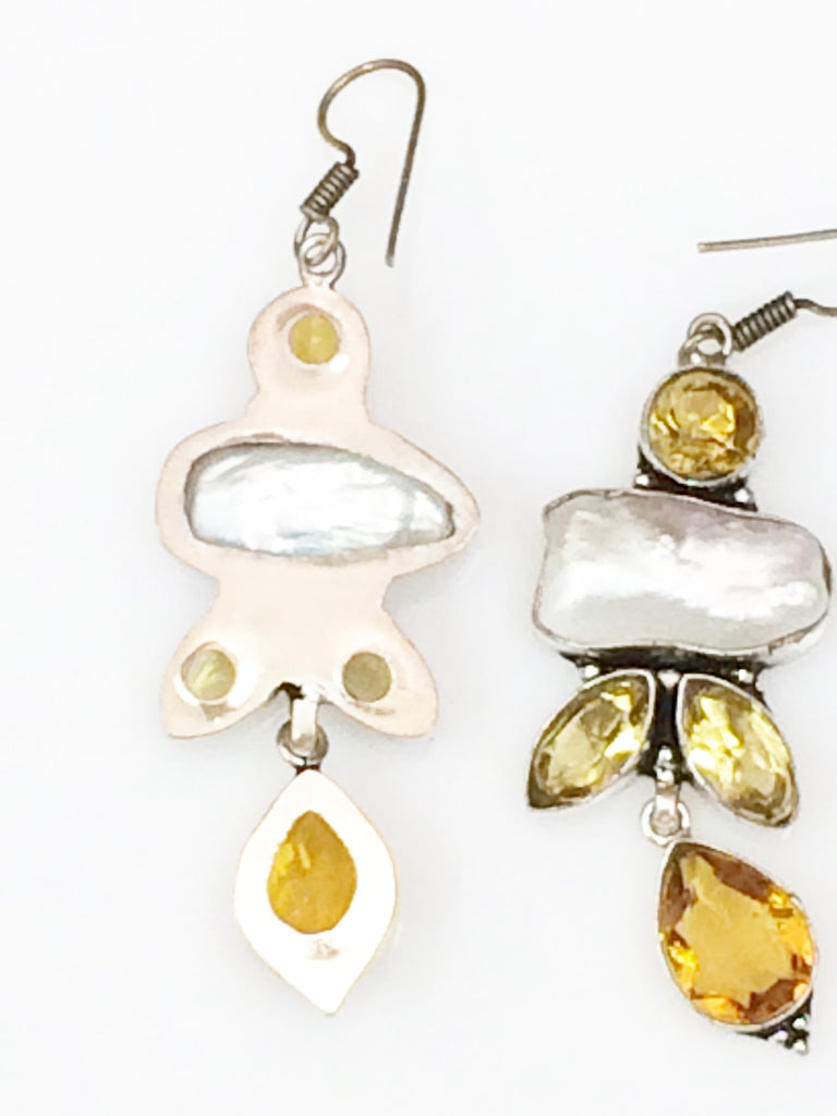 Long Citrine & Pearl Earrings    SKU 342
