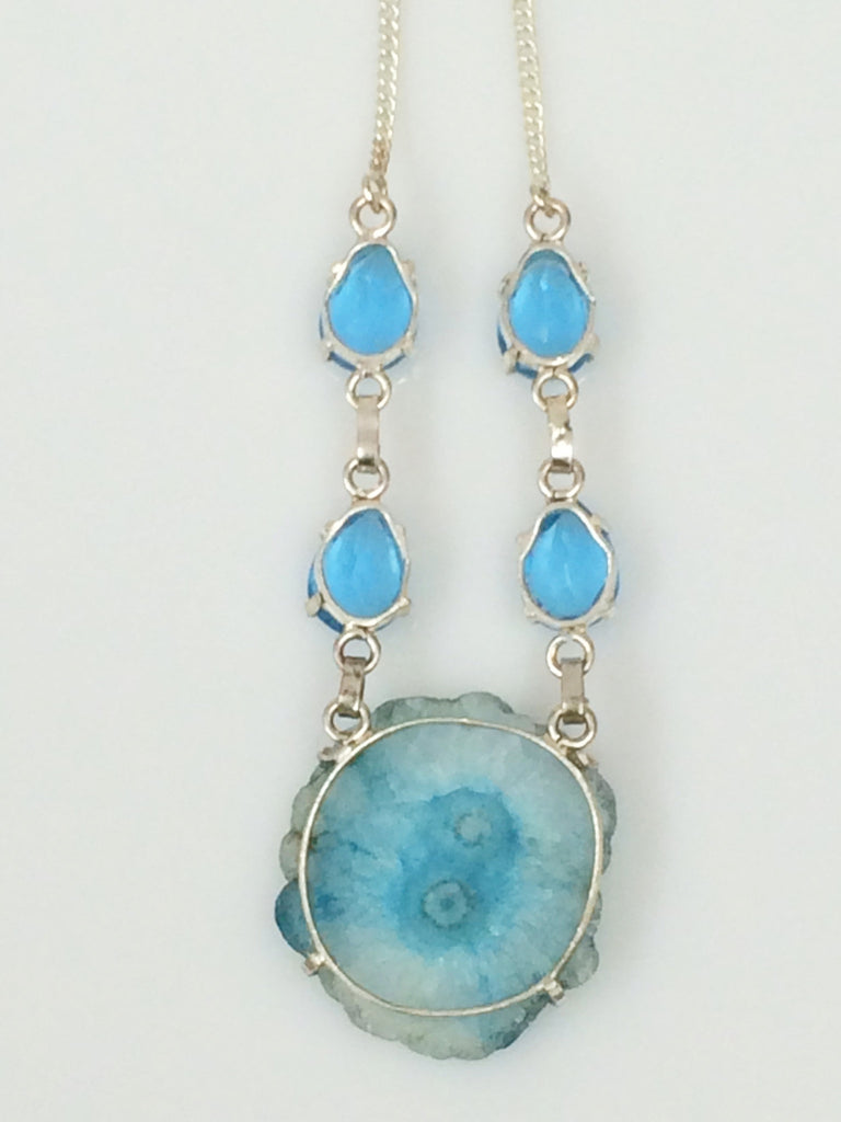 Blue Agate Slice Necklace   sku 359