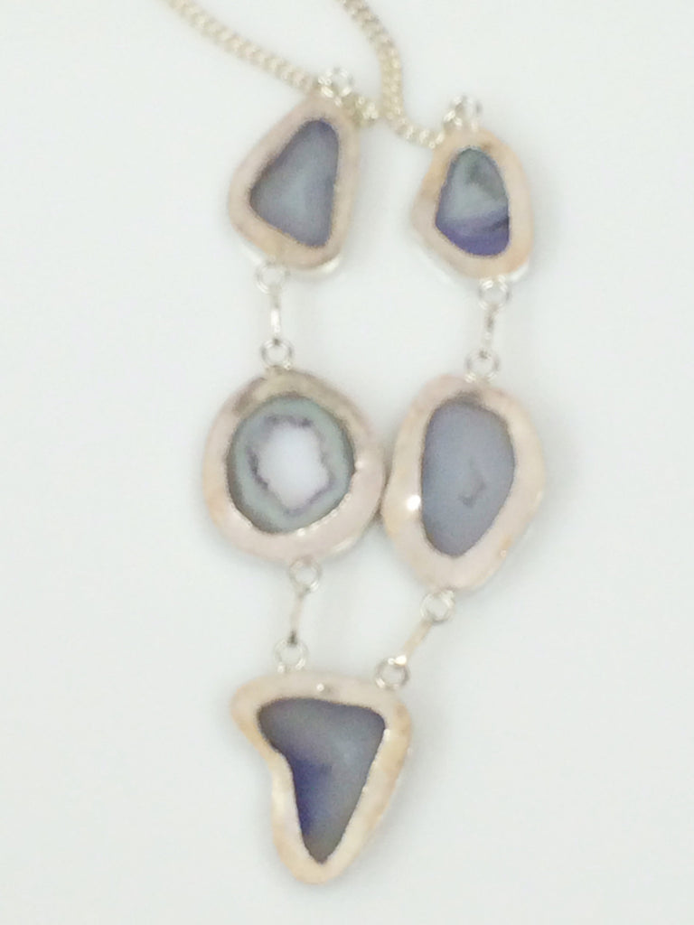 Perfectly Periwinkle Geode Agate Necklace SKU 376