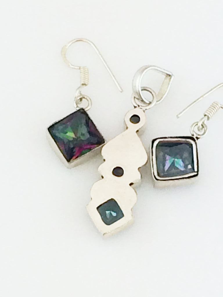 Rainbow Topaz Pendant & Earrings Set SKU 388