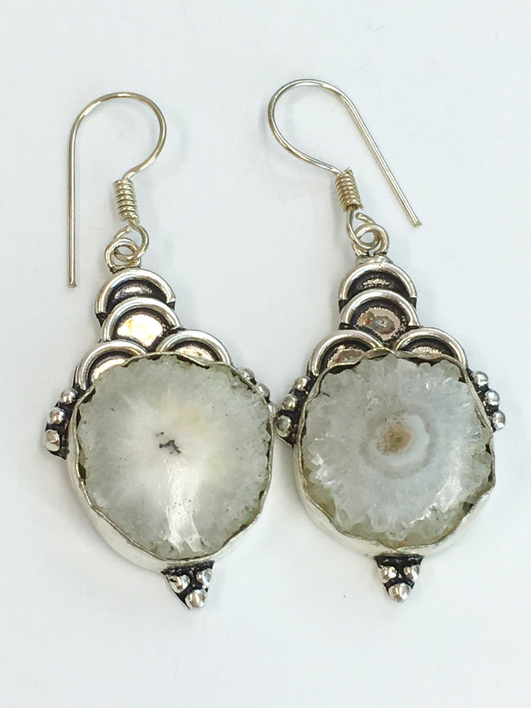 Natural Quartz Geode Earrings SKU 304