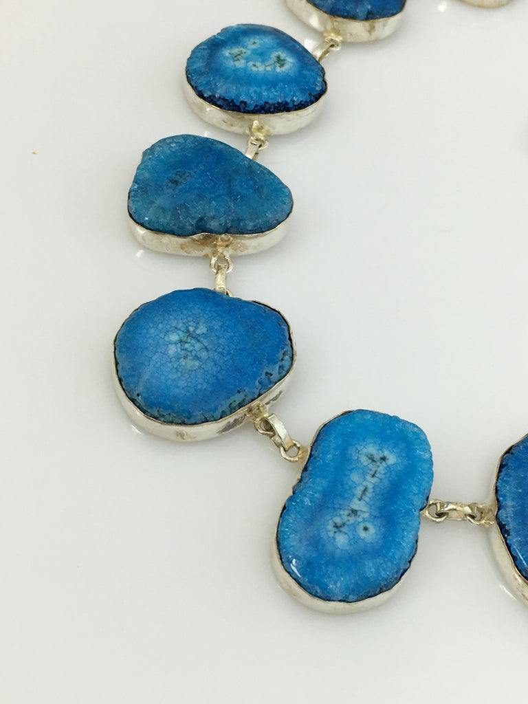 Cool Blue Waters Geode Necklace SKU 405