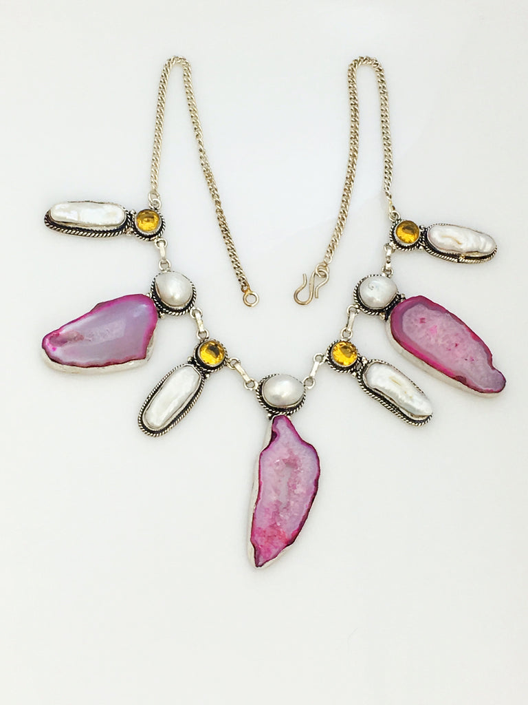 Pink Geode and Pearl Necklace SKU 422