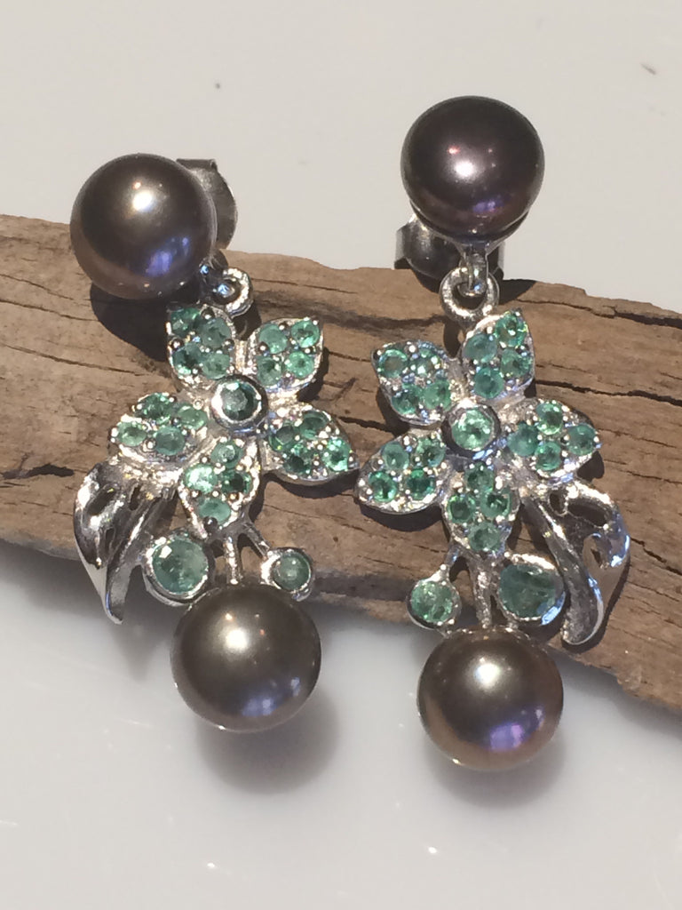 Emerald and Black Pearl Earrings SKU 545
